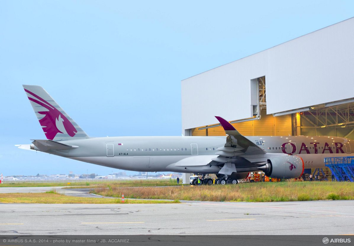 Qatar Airways first A350 XWB rolls out 2