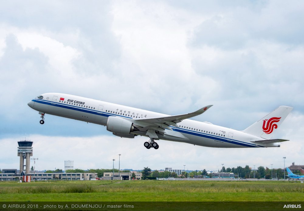An A350 XWB delivered to Air China – which ordered 10 of these widebody commercial aircraft from Airbus in 2019 – takes off from Toulouse-Blagnac Airport in France, where the final assembly line is located.