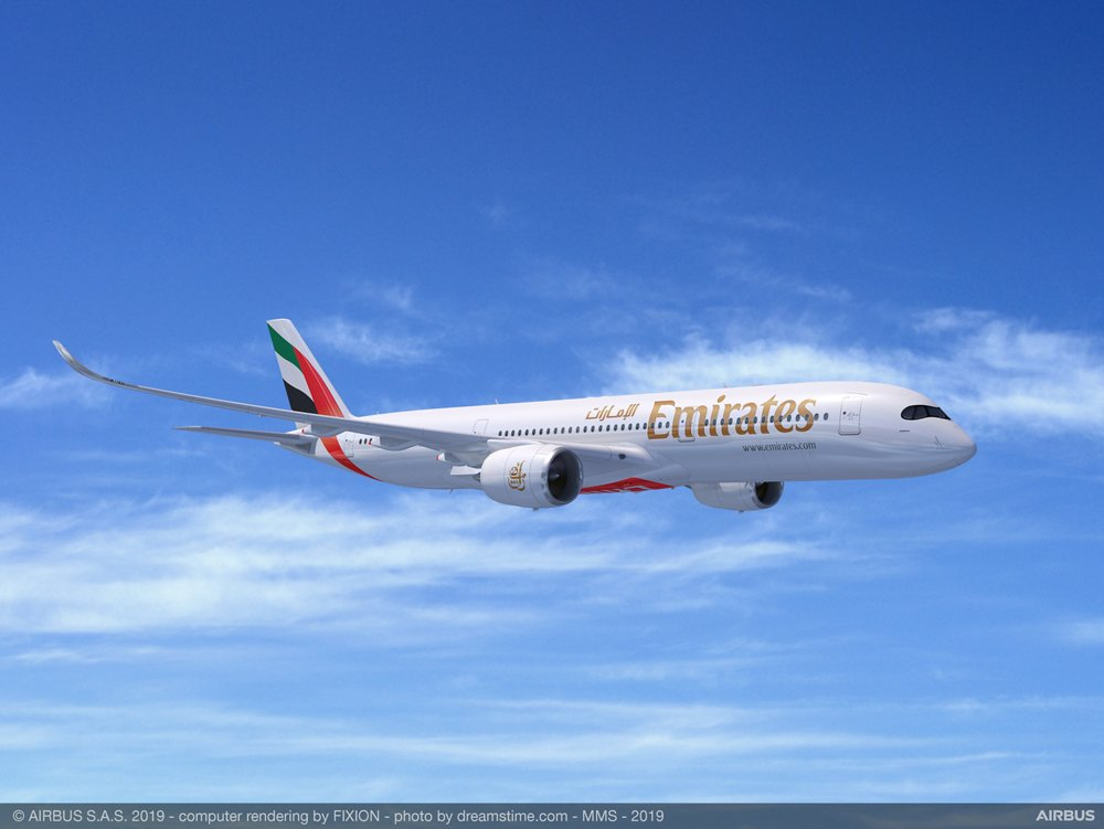 A computer rendering of an in-flight A350 XWB in the livery of Emirates Airline, which signed a purchase agreement for 50 A350-900 versions at the 2019 Dubai Airshow.