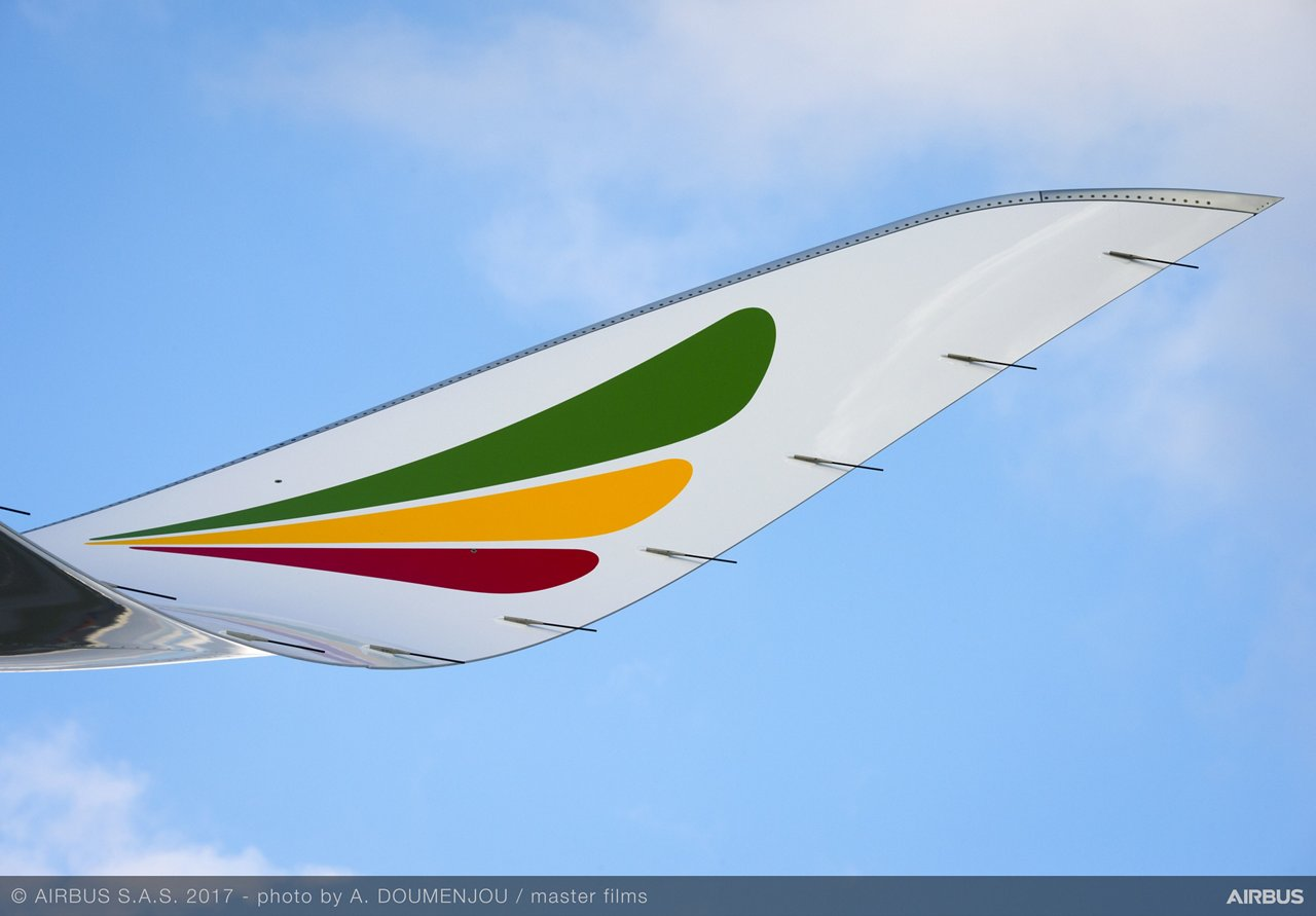 A350 900 Ethiopian Airlines Wing Close Up