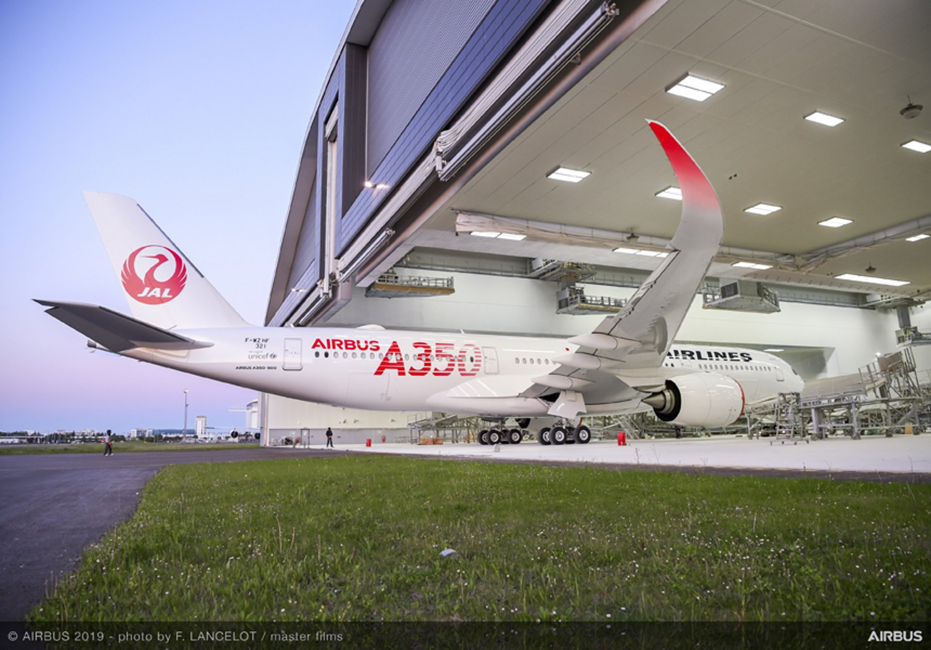 The first A350 XWB for Japan Airlines – an A350-900 version – rolls out of the Airbus paint shop in Toulouse, France