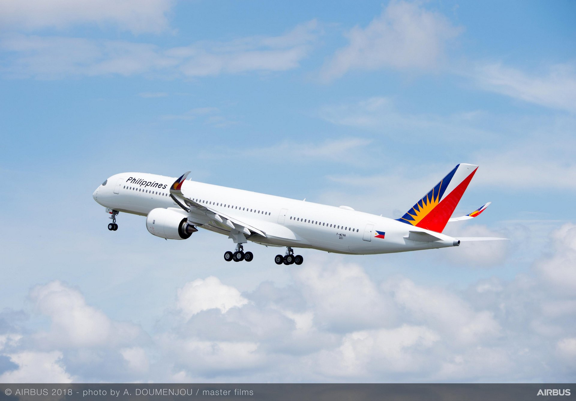 Maiden flight of Philippine Airlines' no. 1 A350-900