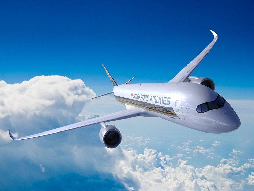 Representation of an in-flight Airbus A350-900 Ultra Long Range (ULR) with Singapore Airlines livery.