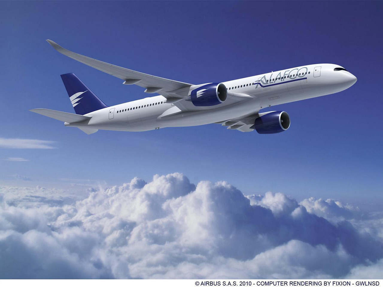 ALAFCO has signed an agreement for six more Airbus A350 XWB aircraft. This repeat order brings ALAFCO's  total order for the A350-900 to 18 aircraft (22 June 2011)
