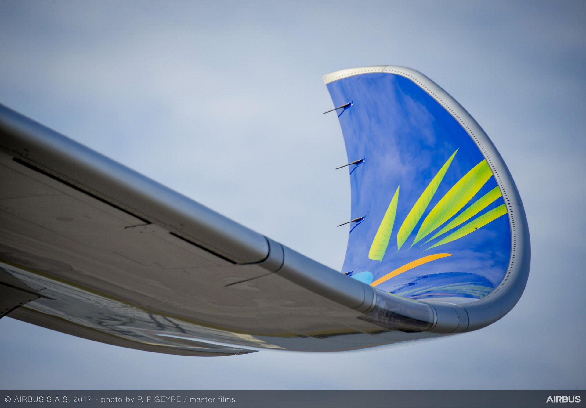 A350 900 Air Caraibes wing close up