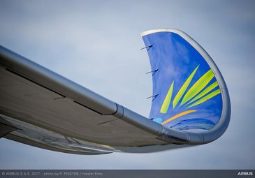 A350 900 Air Caraibes wing close up