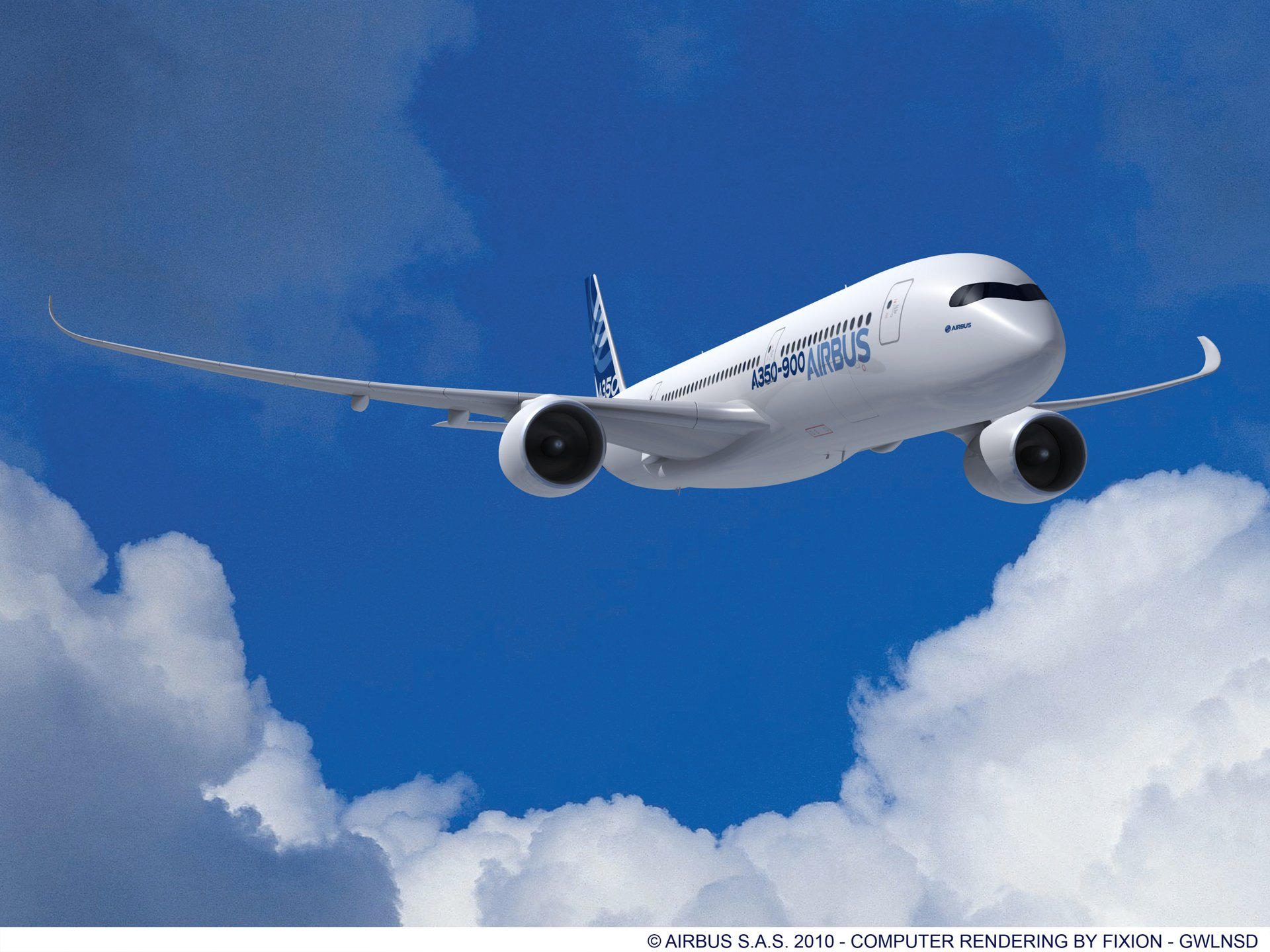 The Airbus A350-900, with RR engines. Shaping Efficiency.