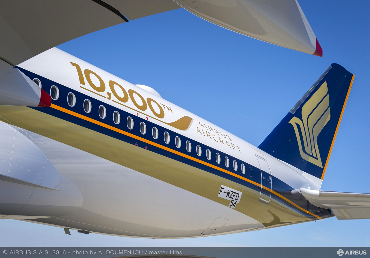 "Featuring a special ""10,000th Airbus"" logo on its livery, Singapore Airlines' new A350-900 jetliner is the 10,000 aircraft delivered to Airbus' global customer base"