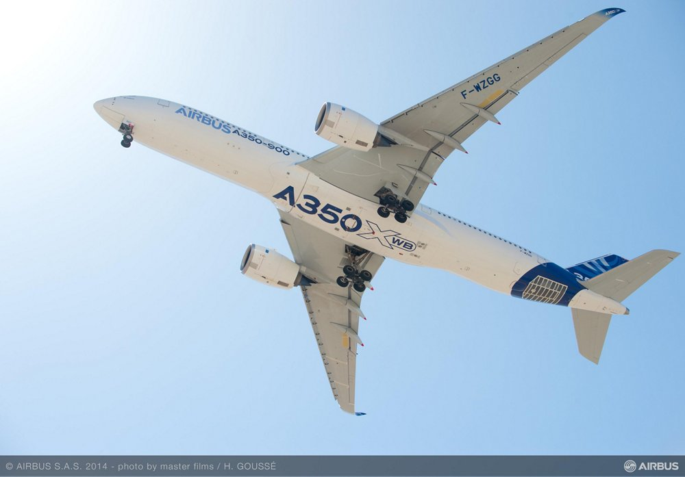 The bottom view of an in-flight A350-900 version of the A350 XWB in Airbus' blue and white livery