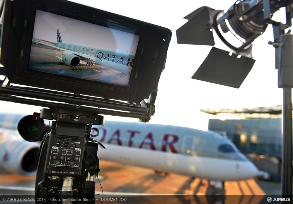 The first-delivered A350 XWB is shown during its handover ceremony to Qatar Airways in December 2014.
