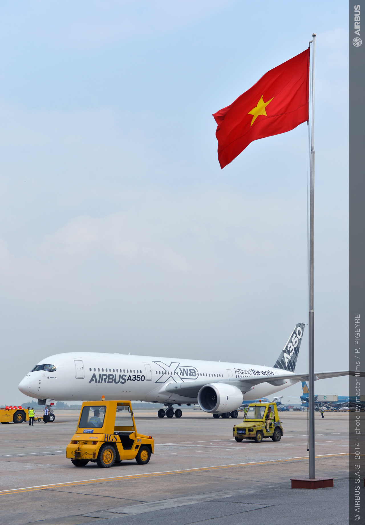 Airbus' new-generation A350 XWB jetliner arrives in Hanoi, Vietnam as part of its Asian demonstration tour this month