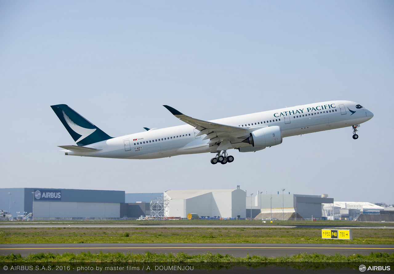Hong Kong-based Cathay Pacific Airways, which has 48 A350 XWBs on order, received the first of its new-generation jetliners – an A350-900 version – in late May 2016