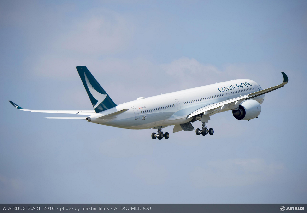 The first A350-900 for Cathay Pacific Airways completed its maiden flight, taking off from Toulouse-Blagnac Airport in France on 24 March 2016