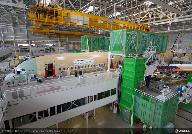 Cathay Pacific's first A350 XWB at Airbus' final assembly line