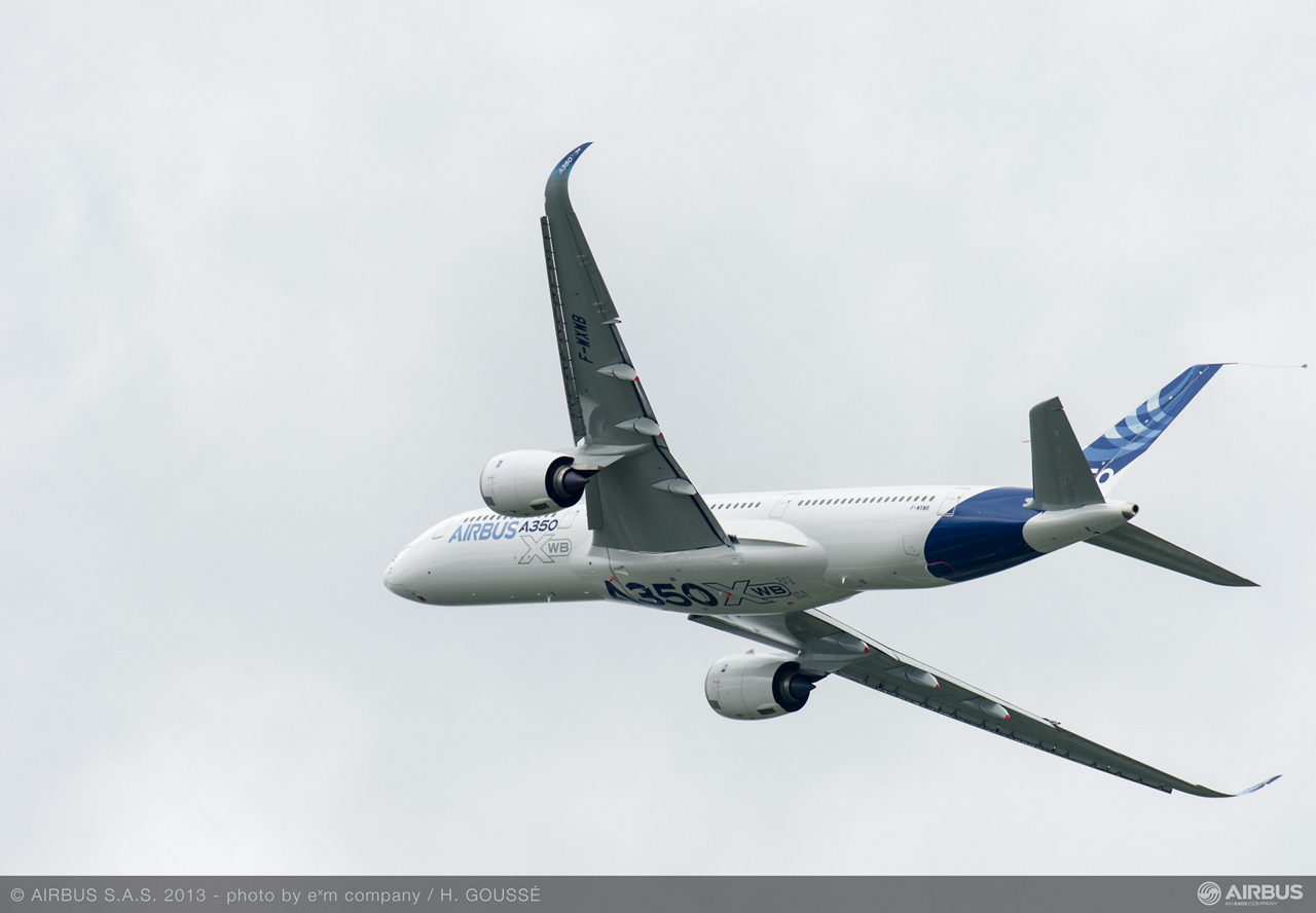 All eyes were on the no. 1 A350 XWB during its high-profile fly-by at the 2013 Paris Air Show