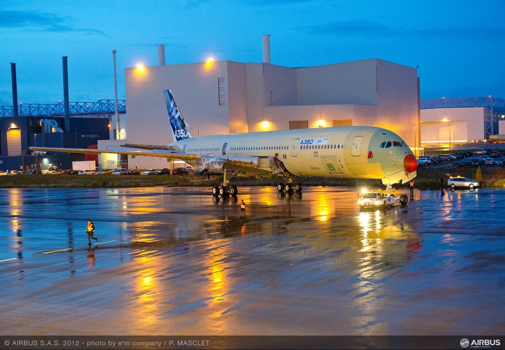 The first A350 XWB flight test aircraft is moved from station to station at the final assembly line in Toulouse, France.