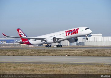 First A350 XWB for TAM Airlines makes its maiden flight