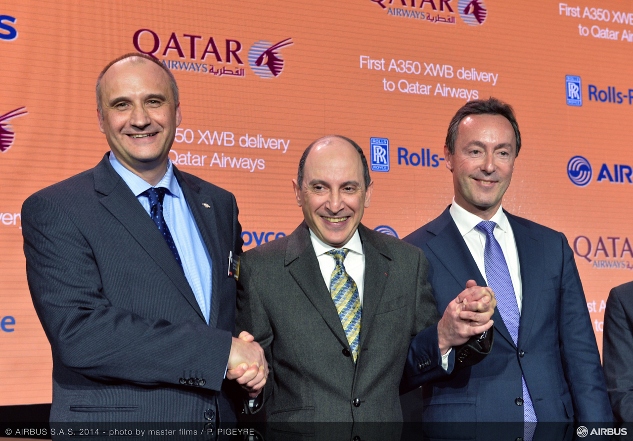 Marking the A350 XWB first delivery on 22 December 2014 are (from right to left): Airbus President and CEO Fabrice Brégier– Qatar Airways Group Chief Executive, His Excellency Mr. Akbar Al Baker– and Eric Schulz, President – Civil Large Engines at Rolls-Royce