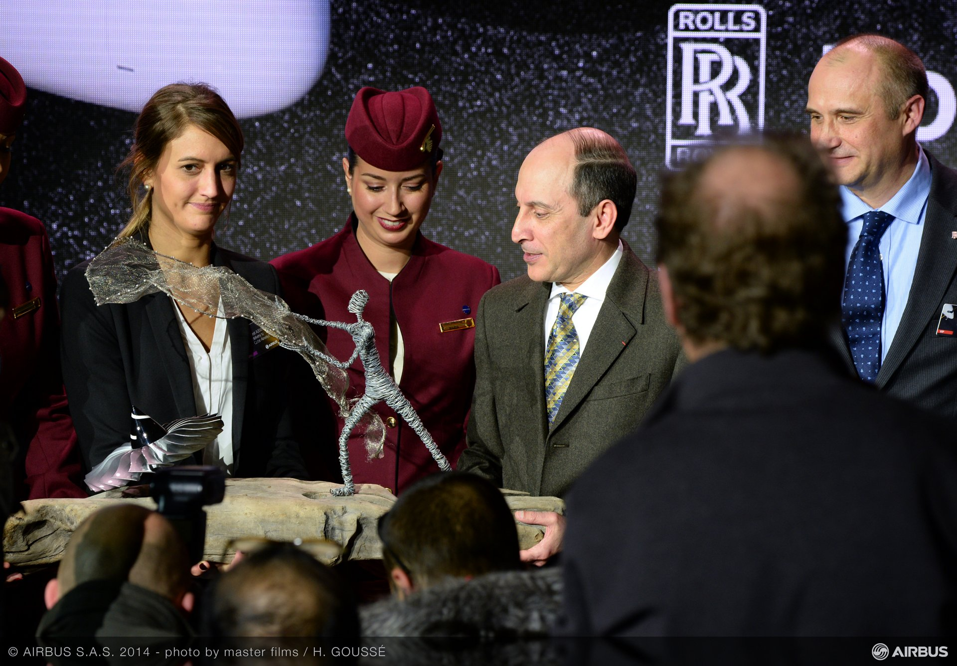 A350 XWB Qatar Airways delivery ceremony trophees