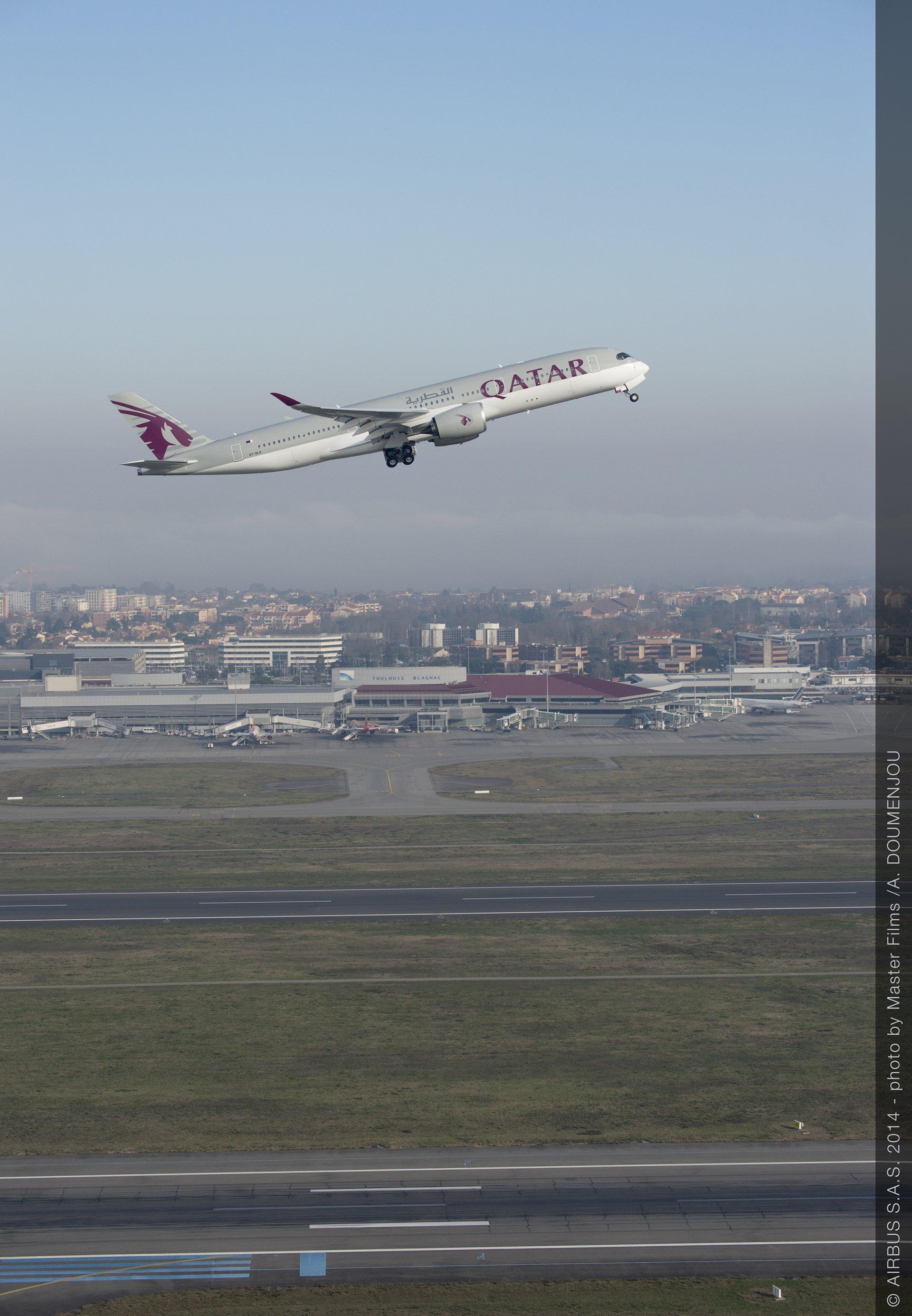 Qatar Airways no. 1 A350 XWB ferry flight
