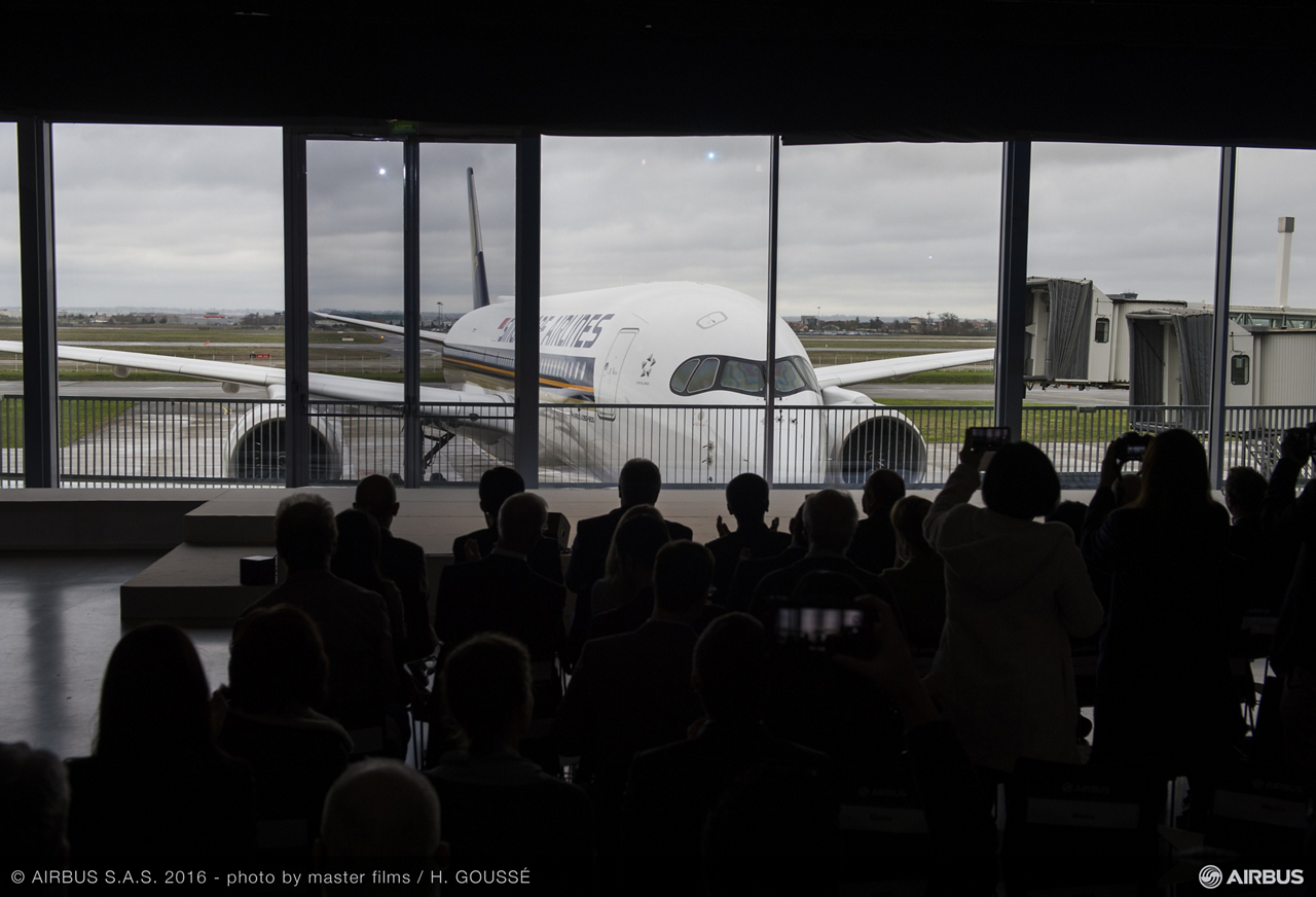 Singapore Airlines no. 1 A350 XWB is formally unveiled to invited guests during the delivery ceremony in Toulouse, France