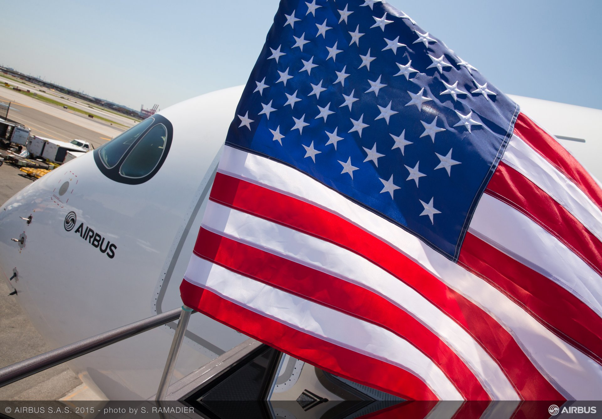 Red, white and blue: Airbus' MSN002 flight test A350 XWB aircraft visits Newark, New Jersey during its demonstration tour in the United States
