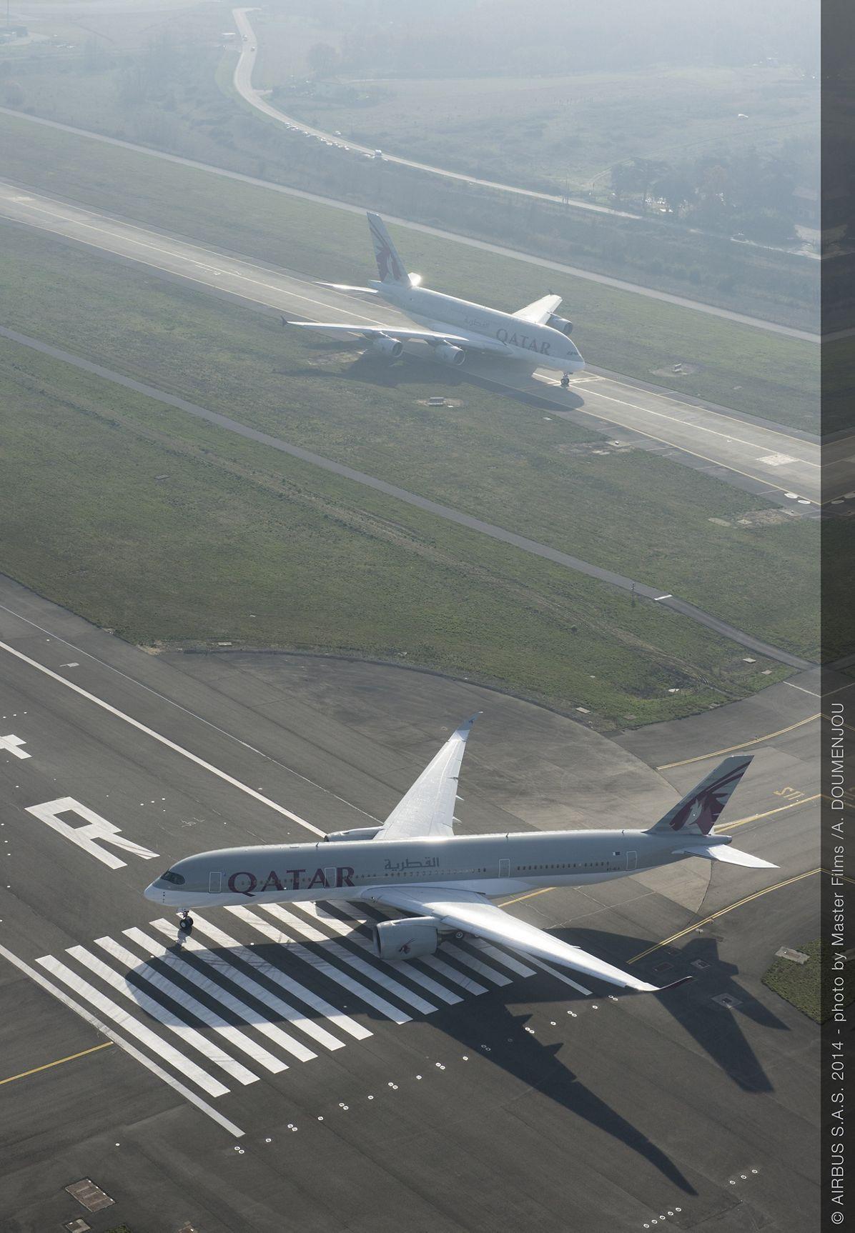 Qatar Airways A350 XWB and A380 taxiing_4
