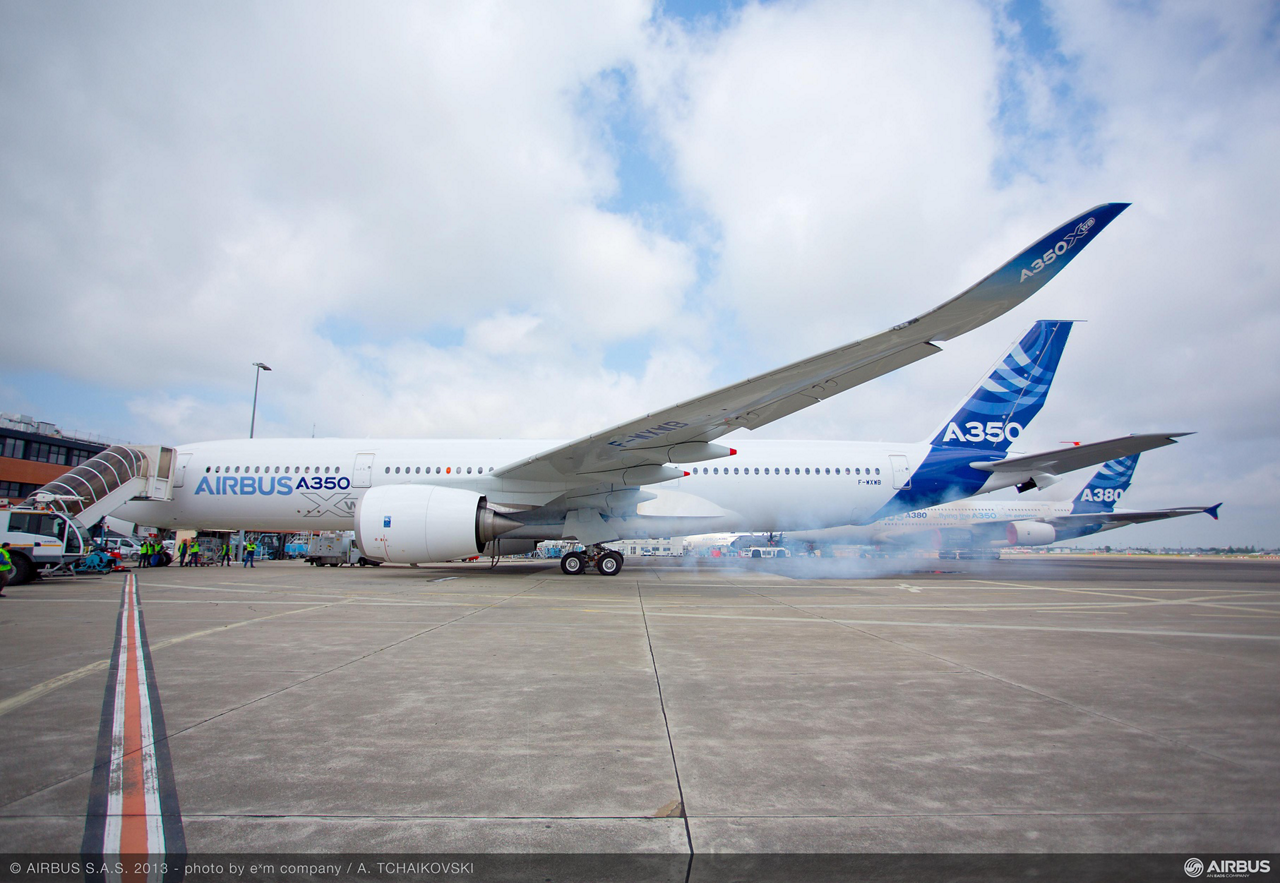 A350 XWB (MSN1) First Engine Run, Toulouse, France. Rolls-Royce's Trent XWB engines have run for the first time on the A350 XWB (MSN1) following the start-up of the Auxiliary Power Unit (APU), as part of the preparations for the aircraft's maiden flight.