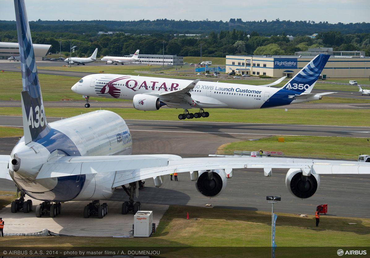 A350 XWB landing at Farnborough Airshow-1