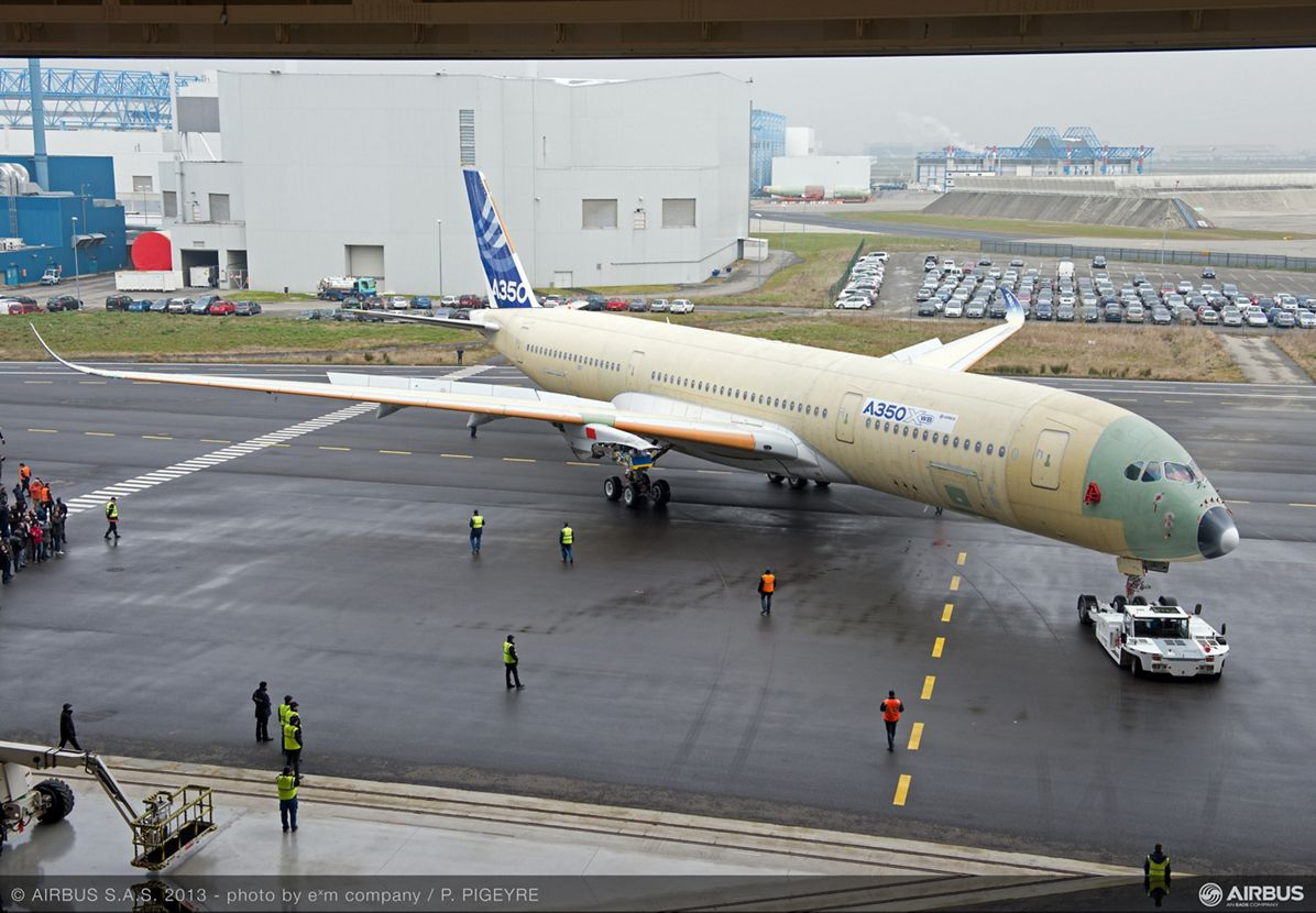A350 XWB MSN001 emerges for outdoor testing