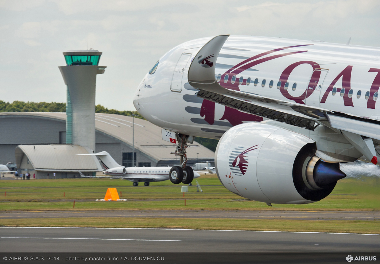 The next-generation A350 XWB – which will set new standards for comfort and efficiency when it enters commercial service – is a major component of Airbus' Farnborough International Airshow presence