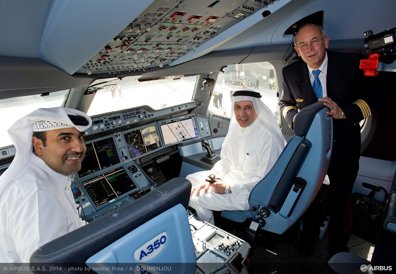 The A350 XWB made its premier appearance at Doha's new Hamad international airport as part of the entry-into-service preparations between Airbus and Qatar Airways. Photo: Qatar Airways CEO Akbar Al Baker with Peter Chandler, Airbus Chief Test Pilot, and Mr. Issa Al Mohannadi – Chairman of Qatar Tourism Authority