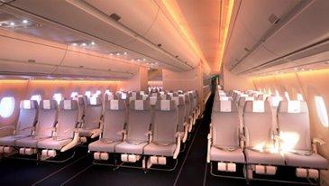 A350 XWB_Finnair Economy Class Cabin 2 sunset