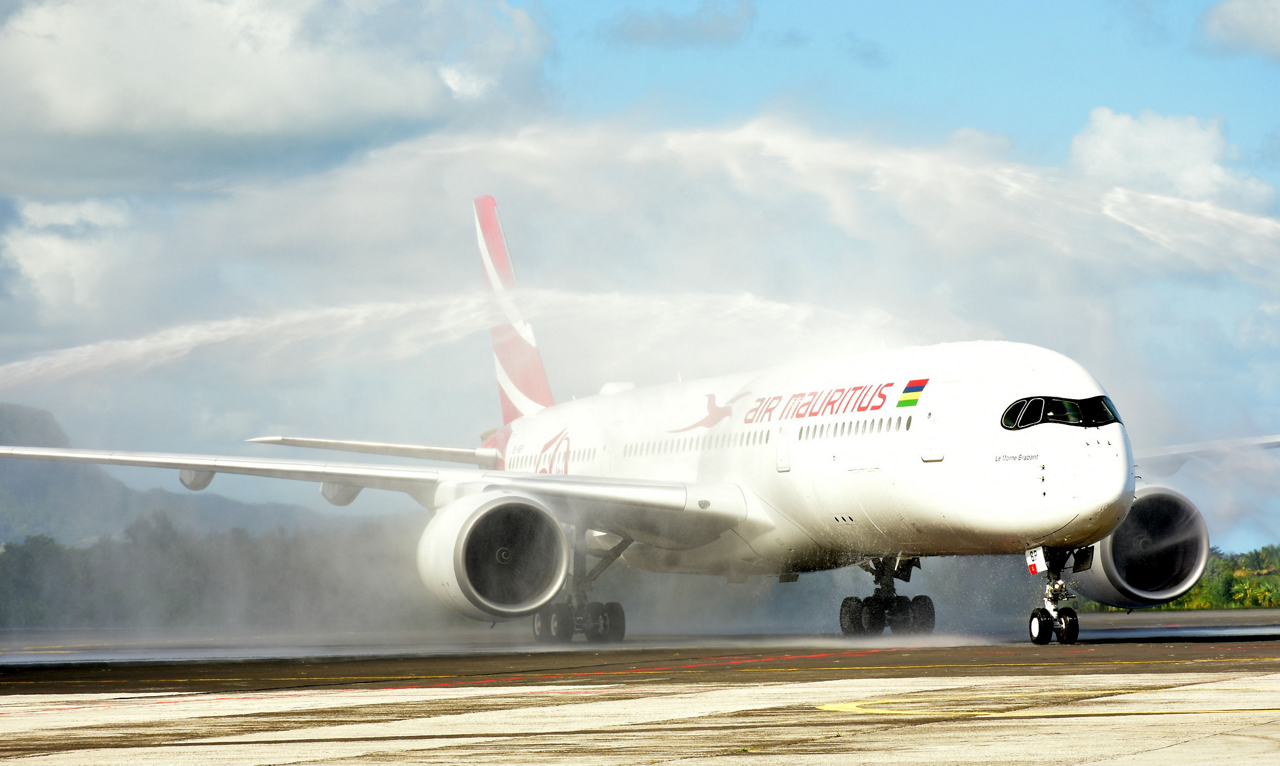 Air Mauritius' first A350 XWB is greeted in Mauritius with a traditional water canon salute