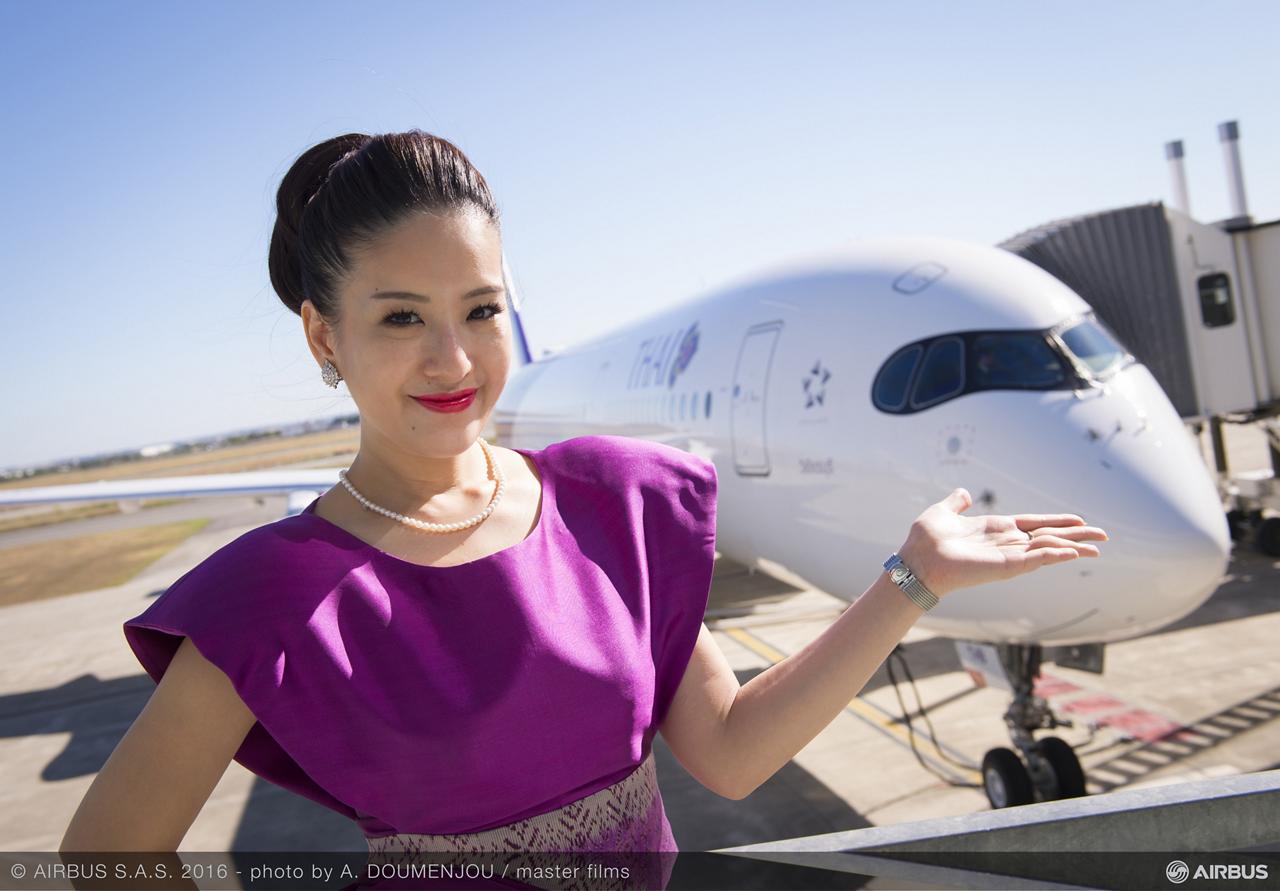 The no. 1 Airbus A350 XWB aircraft for THAI is a state-of-the-art aircraft that features a contemporary design aligned with THAI's signature Royal Orchid Service