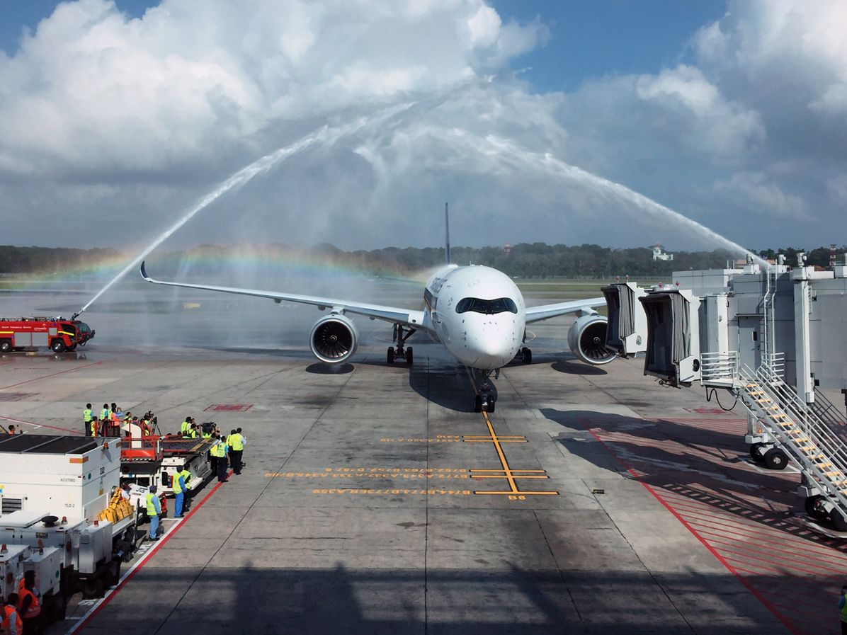First Singapore Airlines A350 XWB arrives in Singapore 2