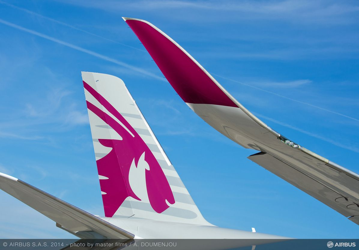 Qatar Airways A350 XWB Tail close-up 1