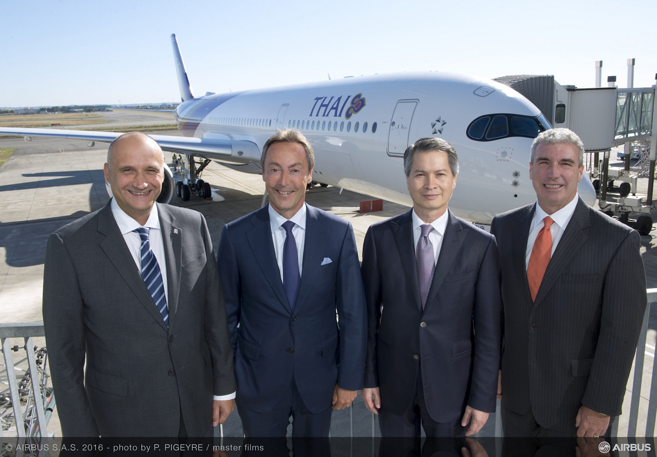 Top management from Airbus, Thai Airways International, CIT and Rolls-Royce marked the milestone first A350 XWB aircraft for the carrier. Pictured from left to right are: Eric Schulz, Rolls-Royce President – Civil Aerospace– Fabrice Brégier, Airbus President and Chief Executive Officer– Charamporn Jotikasthira, Thai Airways International's President– and Jeff Knittel, President, CIT Transportation & International Finance