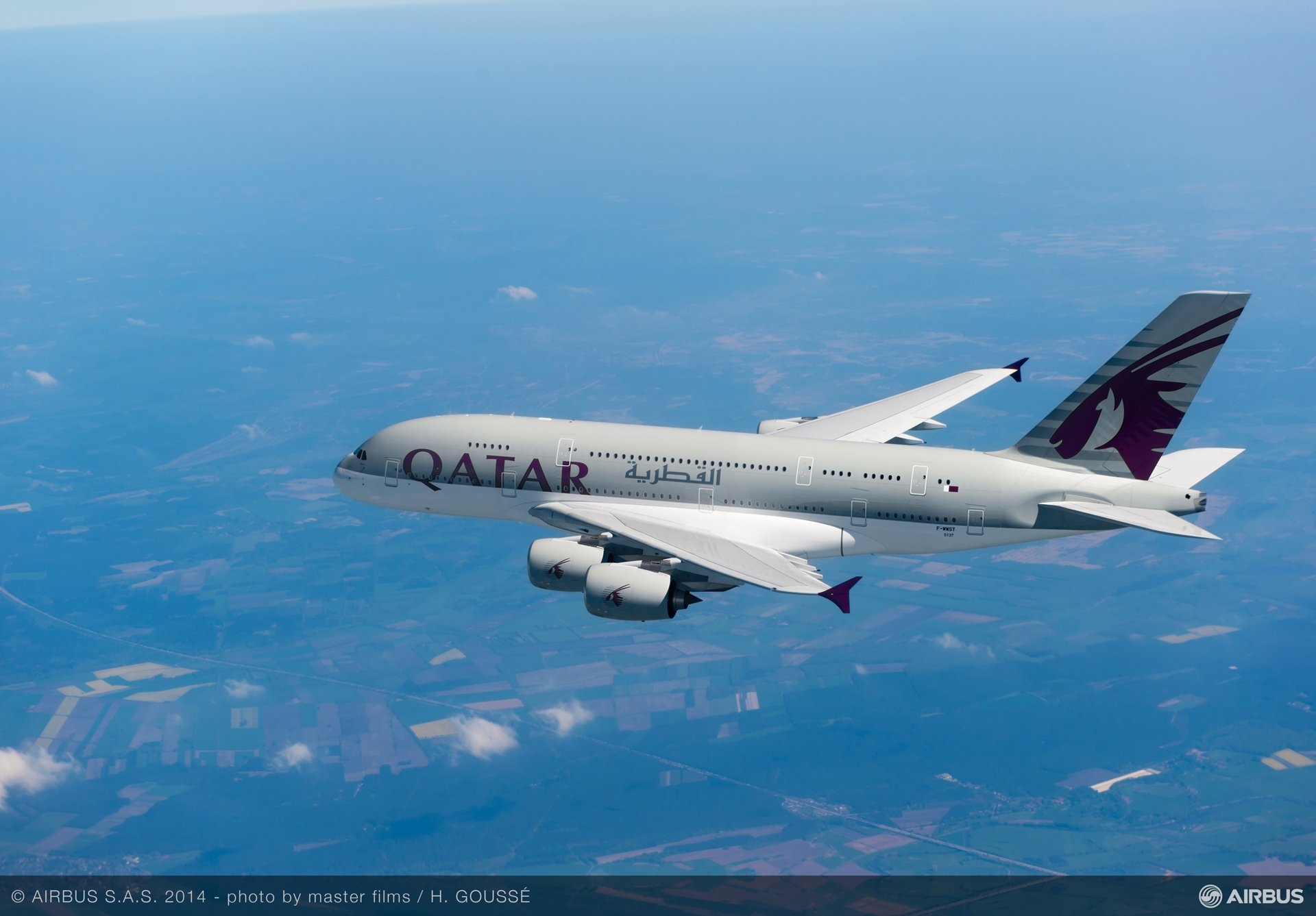 First Qatar Airways A380 – In flight