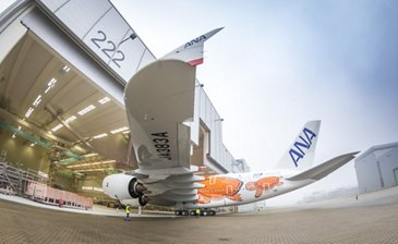 Third All Nippon Airways A380 – Paint shop rollout
