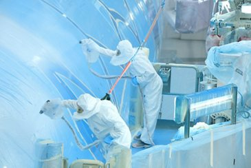 ANA's A380 in the paint shop
