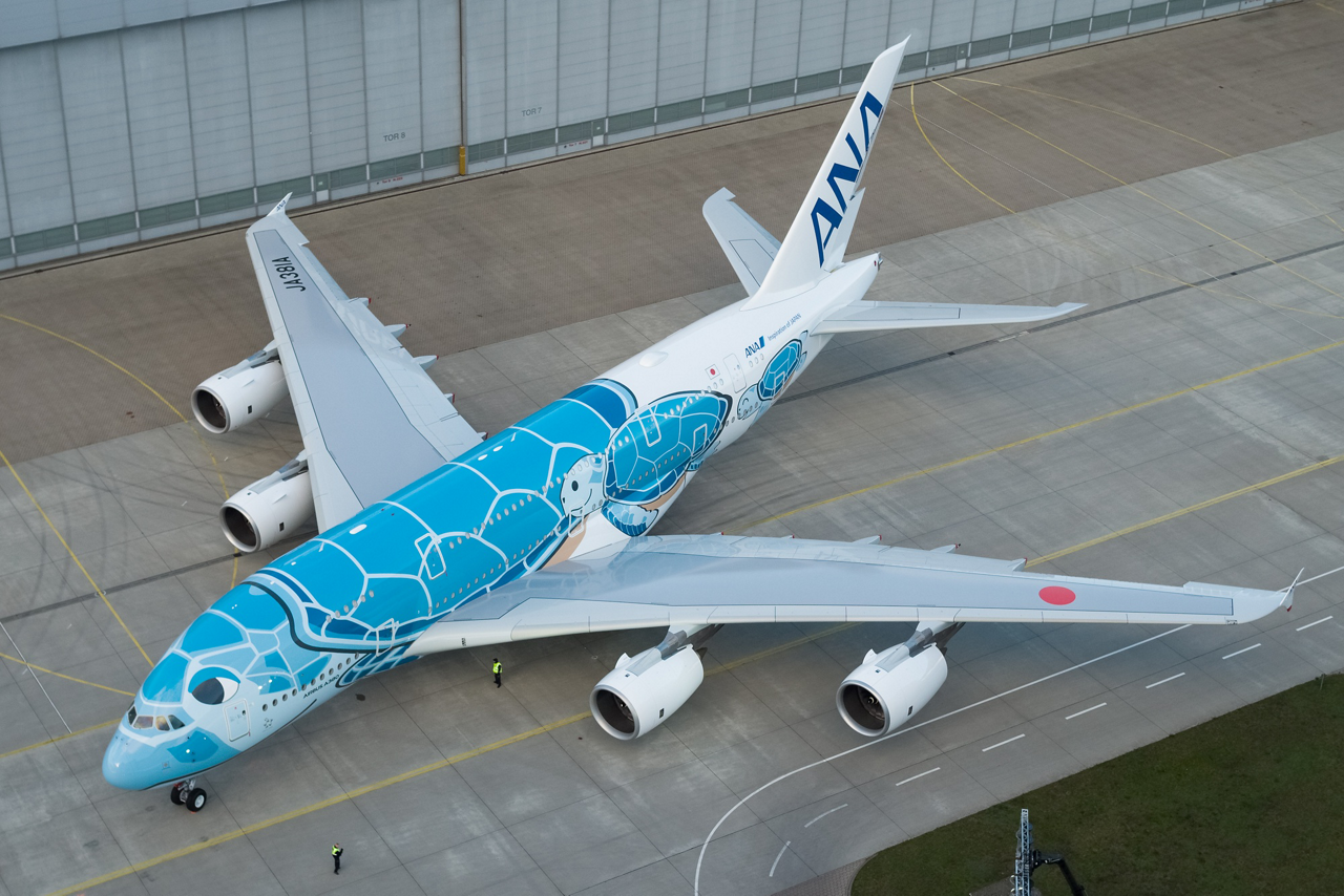 As the first Japanese customer for Airbus' double-deck jetliner, ANA's no. 1 A380 bears the representation of a Hawaiian turtle – and will be part of promotions to save sea turtles and the environment