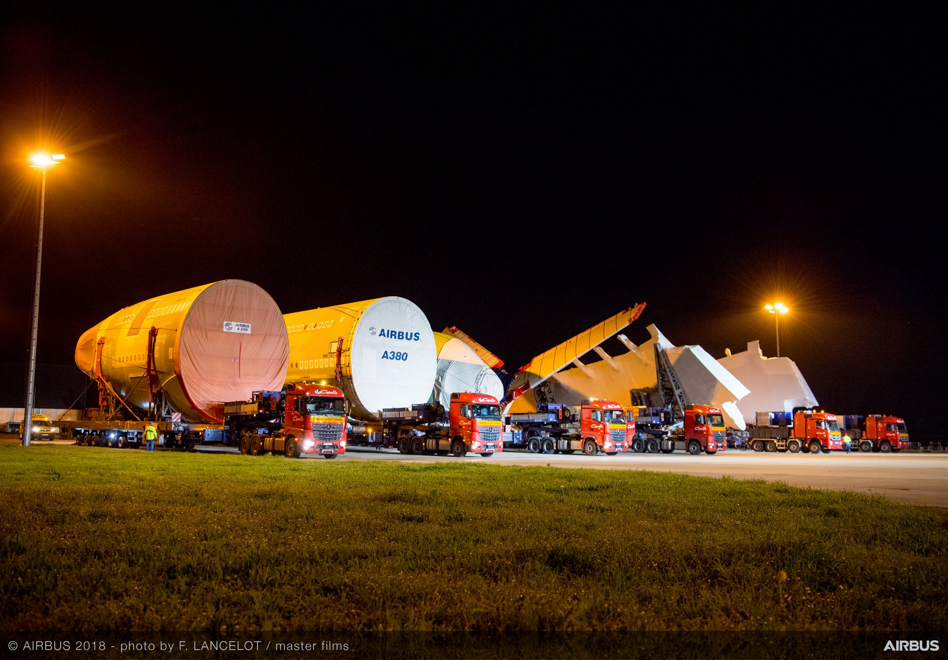 Major airframe sections for the first All Nippon Airways A380 arrive at the Airbus final assembly line in Toulouse, France