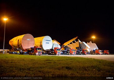 A380 ANA fuselage convoy to Toulouse