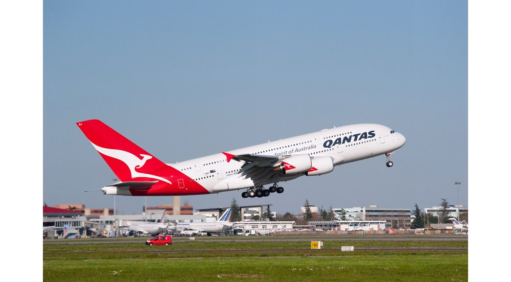Takeoff of an Airbus A380 in the livery of Australia's Qantas.