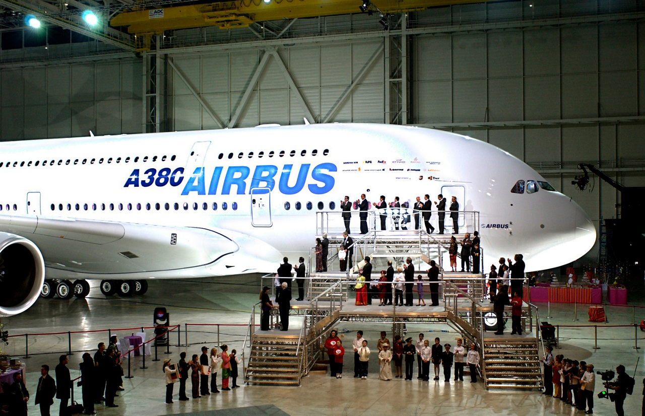 Airbus' A380 is shown after its 2005 unveiling during a media event in Toulouse, France.