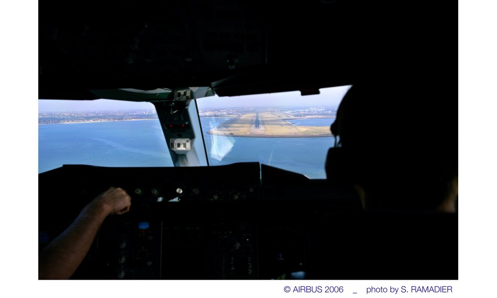 An A380 on its final approach to landing, from the pilots' perspective inside the cockpit