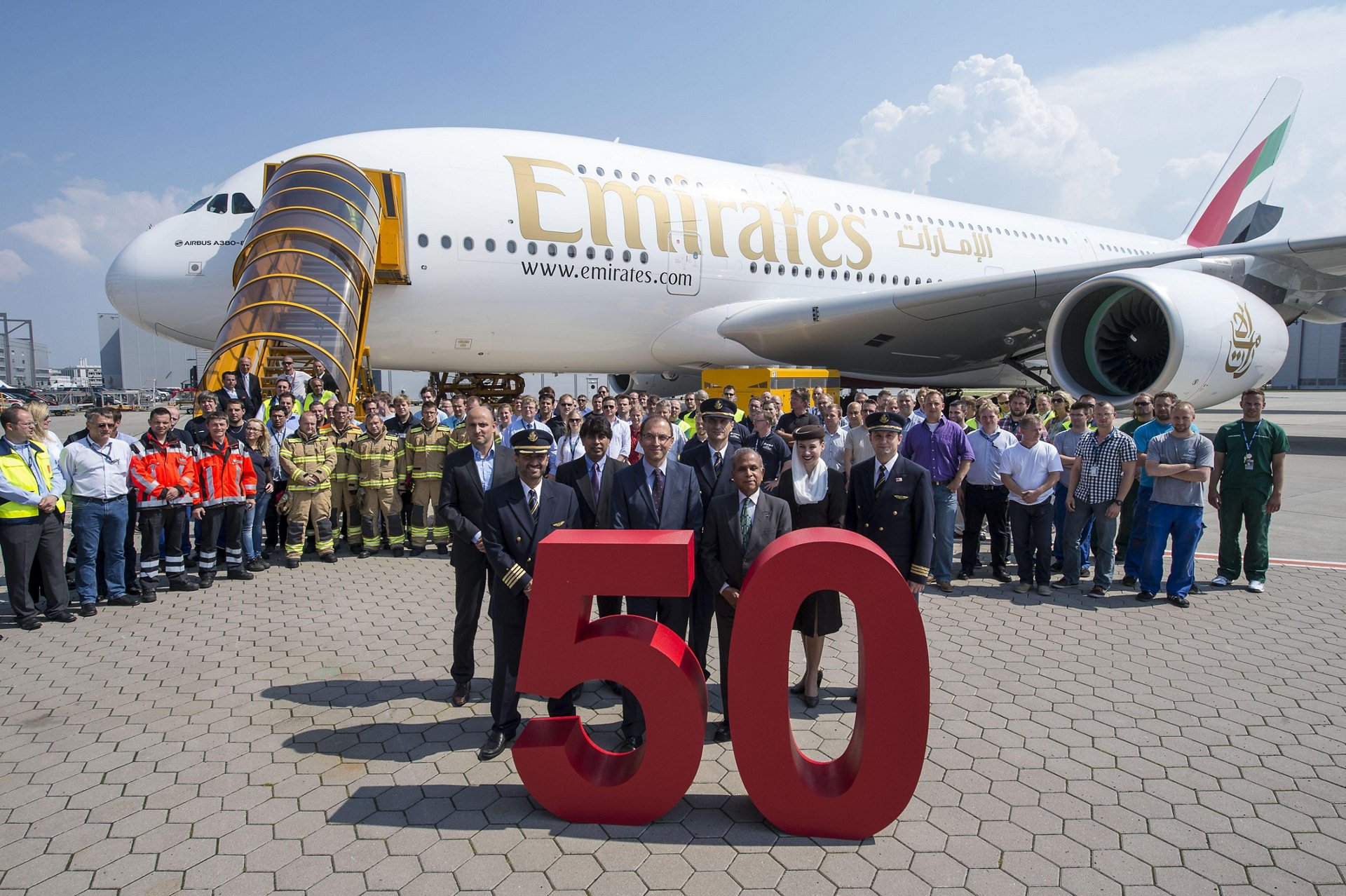 Airbus' A380 programme marked a key milestone – the delivery of the 50th A380 for Dubai-based Emirates – on 10 July in Hamburg