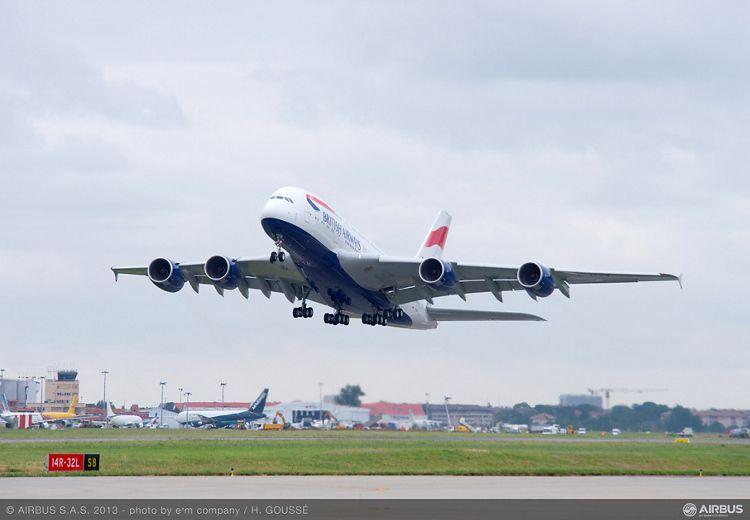 A380 BAW Toulouse take off to London