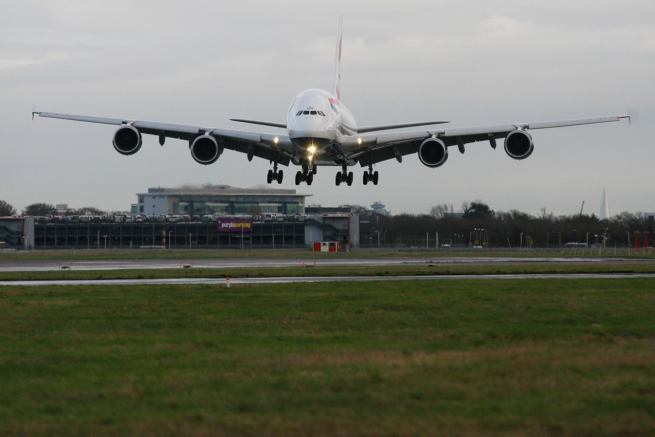 LONDON, UK:  British Airways' 4th A380 touches down at London Heathrow on 17 January 2014 (Picture by Nick Morrish/British Airways)